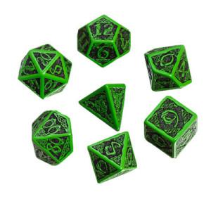 Poly 7 Dice Set: Celtic 3D Green w/Black