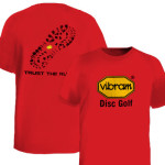 T-Shirt (Short Sleeve) (T-Shirt (Short Sleeve), Vibram Disc Golf Logo (Front) Trust the Rubber (Back))