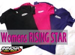 Womens Rapid Dry T-Shirt (Short Sleeve) (Rapid Dry Single Color T-Shirt (Short Sleeve), Ladies Innova Swoosh (Front Left) and Rising Star Logo (Back))