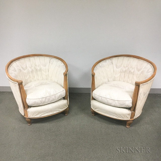 Pair of Art Deco Upholstered Fruitwood Club Chairs (Lot 1099, Estimate: $200-250)