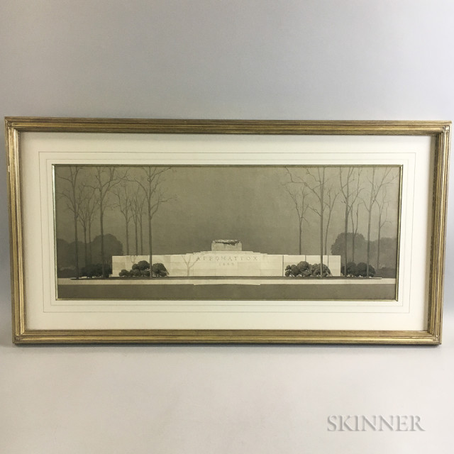 Perry Smith Watercolor Rendering of an Appomattox Memorial (Lot 1127A, Estimate: $500-700)