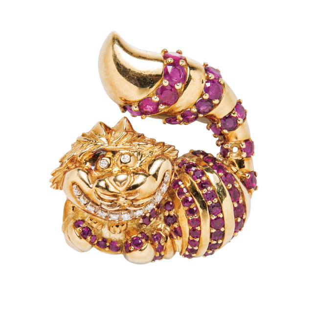 """18kt Gold, Ruby, and Diamond """"Cheshire Cat"""" Brooch, Disney (Lot 1349, Estimate: $1,000-1,500)"""