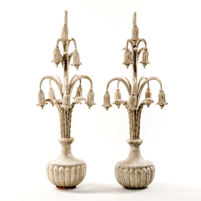 Pair of Carved and Painted Bellflower Finials, Canada, 19th century (Lot 254, Estimate: $3,000-5,000)