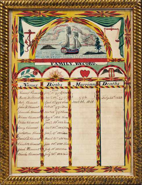 Watercolor Clement Family Record, Pompey, New York, c. 1814 (Lot 95, Estimate: $2,000-3,000)