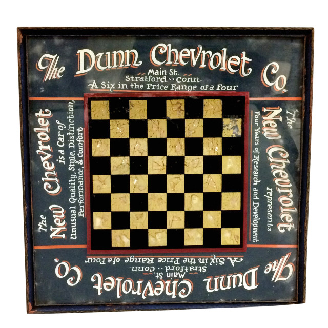 The Dunn Chevrolet Co. Reverse-painted Glass Checkerboards (Lot 21, Estimate: $400-600)