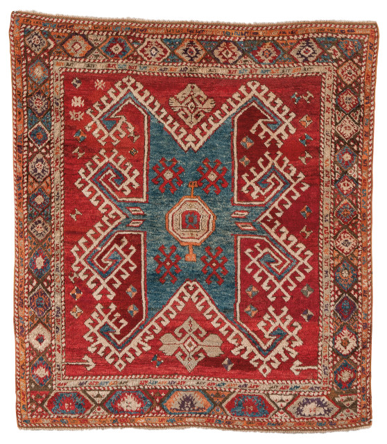 Konya Rug, Turkey, c. 1850 or earlier, 5 ft. 11 in. x 5 ft. 5 in. (Lot 114, Estimate: $3,000-3,500)