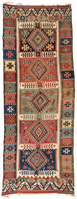Central Anatolian Kilim, Turkey, c. 1850, 12 ft. 9 in. x 4 ft. 9 in. (Lot 116, Estimate: $1,500-2.000)