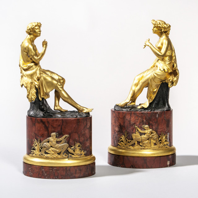 Pair of Gilt-bronze Figures of a Shepherd and Shepherdess, probably 18th century (Lot 606, Estimate: $5,000-7,000)