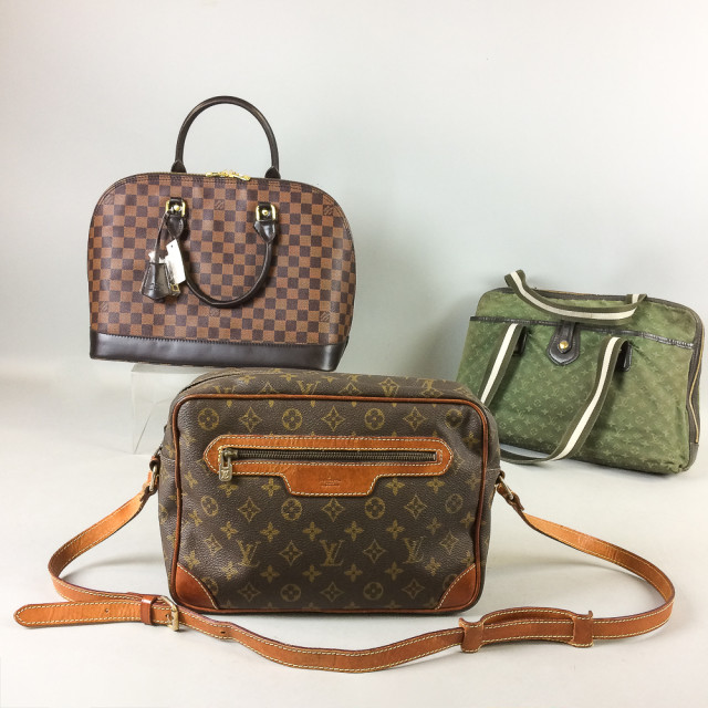 Three Louis Vuitton Handbags, two leather with logo decoration, and an olive green canvas bag with logo decoration, (imperfections). (Lot 2319, Estimate: $300-400)