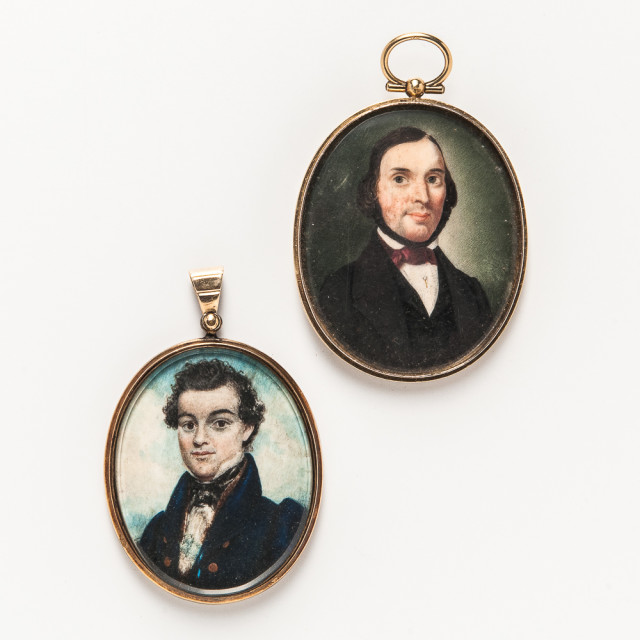 Two Portrait Miniature Pendants, one 14kt gold mounted, lg. to 2 3/4 in. (Lot 2015, Estimate: $300-500)