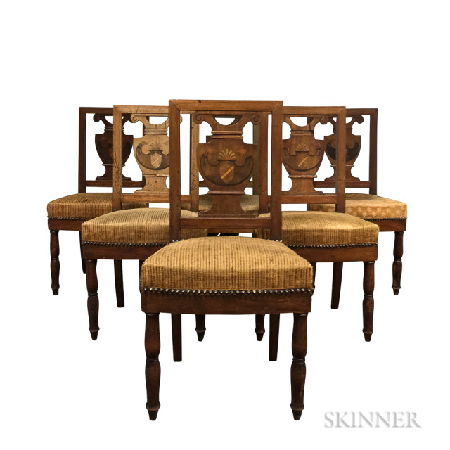 Set of Six Neoclassical Eagle-inlaid Mahogany Chairs (Lot 1254, Estimate: $300-400)