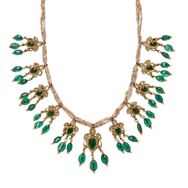 Emerald, Diamond, and Seed Pearl Necklace (Lot 1067, Estimate: $2,000-3,000)