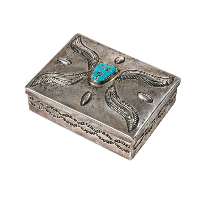 Navajo Silver Box with Turquoise Setting (Lot 302, Estimate: $600-800)