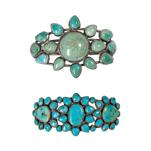 Two Southwest Silver and Turquoise Bracelets (Lot 358, Estimate: $800-1,200)