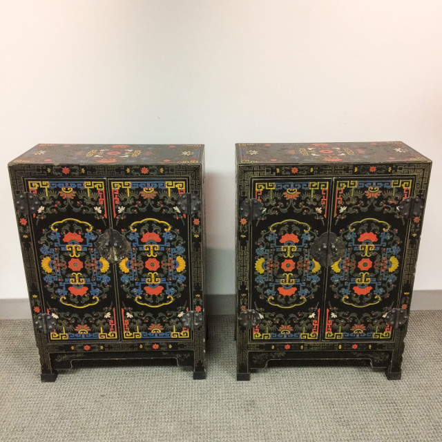 Pair of Polychrome Lacquer Cabinets, China, 20th century (Lot 1025, Estimate: $300-500)