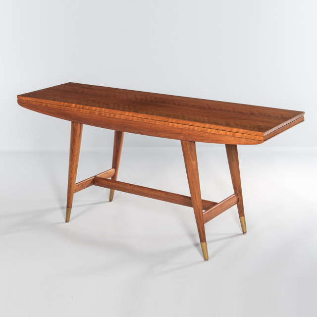Gio Ponti for Singer & Sons Walnut and Brass Console (Lot 378, Estimate: $7,000-10,000)
