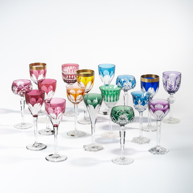 Seventeen Colored Cut to Clear Wineglasses (Lot 1004, Estimate: $300-500)