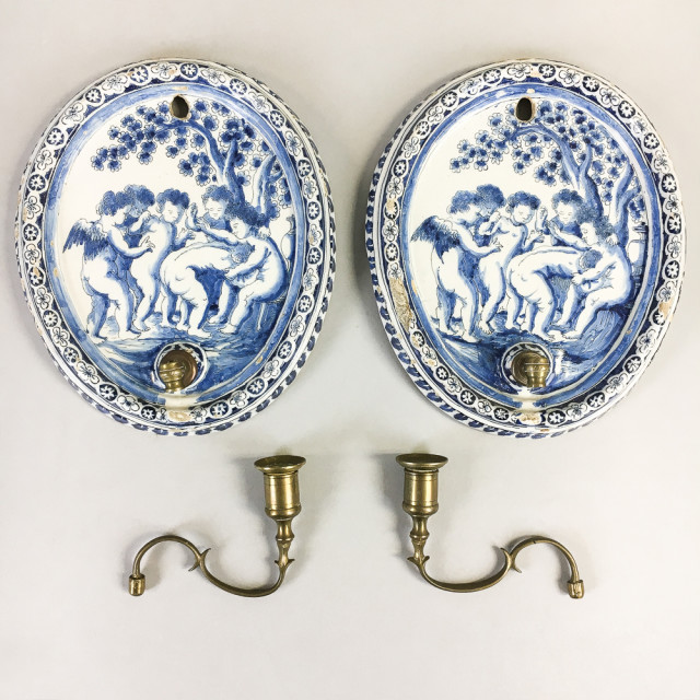 Pair of Delft Ceramic and Brass Wall Sconces (Lot 173, Estimate: $200-250)