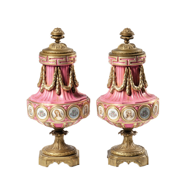 Pair of Sevres-style Porcelain Bronze-mounted Portrait Vases and Covers (Lot 478, Estimate: $5,000-7,000)