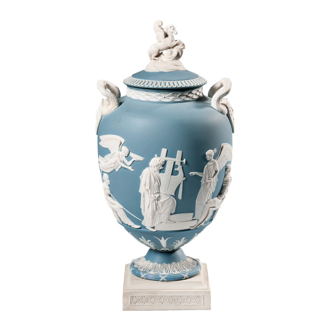 Wedgwood Blue Jasper Apotheosis of Homer Vase and Cover (Lot 275, Estimate: $3,000-5,000)