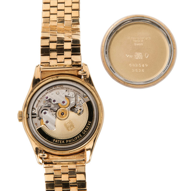 "Rare Patek Philippe ""Double Signed"" 18kt Gold Automatic Wristwatch Reference 2526 (Estimate: $20,000-30,000)"
