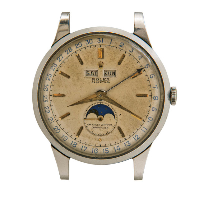 "Rare Rolex Stainless Steel Reference 8171 ""Padellone"" Triple Calendar Wristwatch (Estimate: $100,000-150,000)"