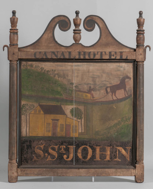 "Painted ""Canal Hotel"" Tavern Sign, c. 1826 (Estimate: $40,000-60,000)"
