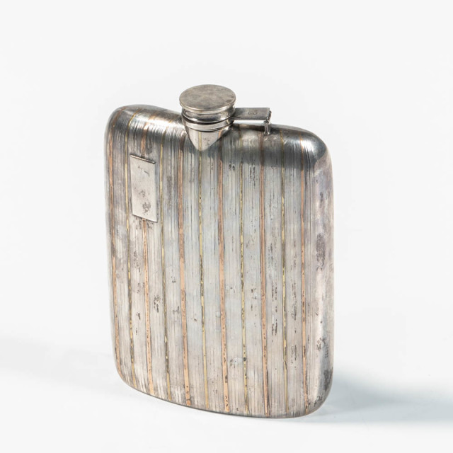 Silver and Yellow/Rose Gold Flask with CBS Provenance (Estimate: $200-400)