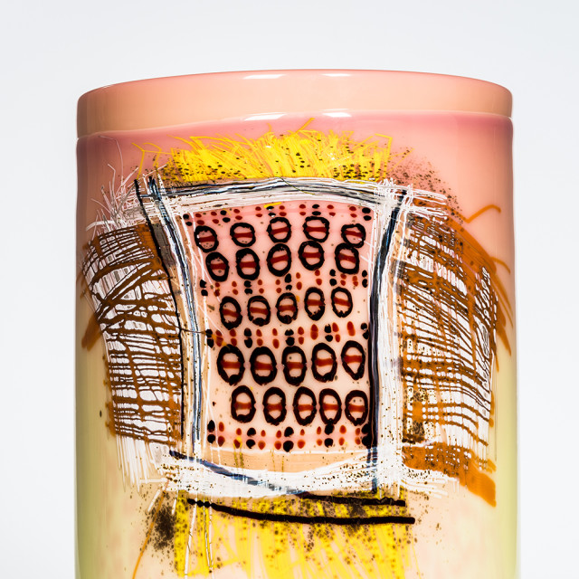 Dale Chihuly (American, b. 1941) Early Navajo Blanket Art Glass Cylinder (Lot 467, Estimate: $4,000-6,000)