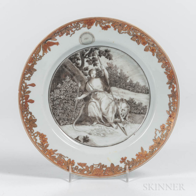 Export Porcelain Plate with en Grisaille Decoration, China, late 18th century (Lot 1454, Estimate: $800-1,200)