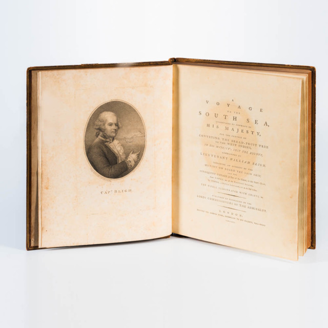 Bligh, William (1754-1817) <I>A Voyage to the South Sea, Undertaken by Command of His Majesty, for the Purpose of Conveying Bread-Fruit Tree to the West Indies. (Lot 1114, Estimate: $4,000-6,000)