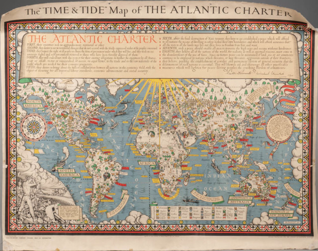"The ""Time & Tide"" Map of the Atlantic Charter. Gill, MacDonald (1884-1947) (Lot 1482, Estimate: $3,500-4,500)"