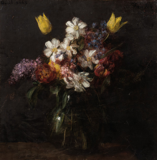"Henri Fantin-Latour (French, 1836-1904), Fleurs, Signed ""Fantin"", dated ""Avril 1863"" (Estimate: $150,000-250,000)"