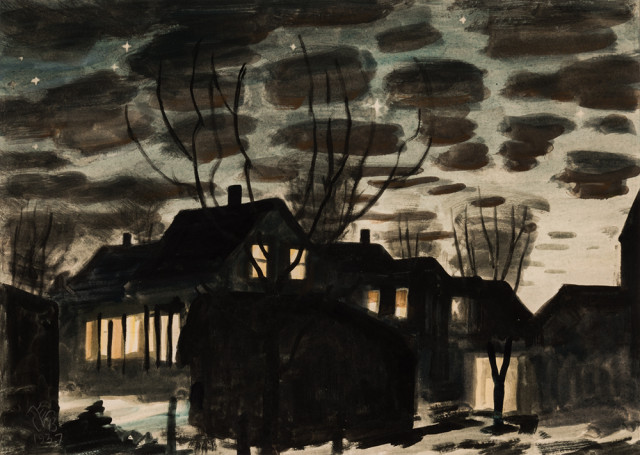 "Charles Ephraim Burchfield (American, 1893-1967), Night in Gardenville, Monogrammed and dated ""…/1937"" (Estimate: $15,000-20,000)"