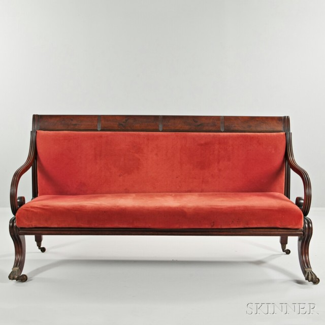 Classical Carved Mahogany and Mahogany Veneer Upholstered Sofa (Lot 207, Estimate $200-300)