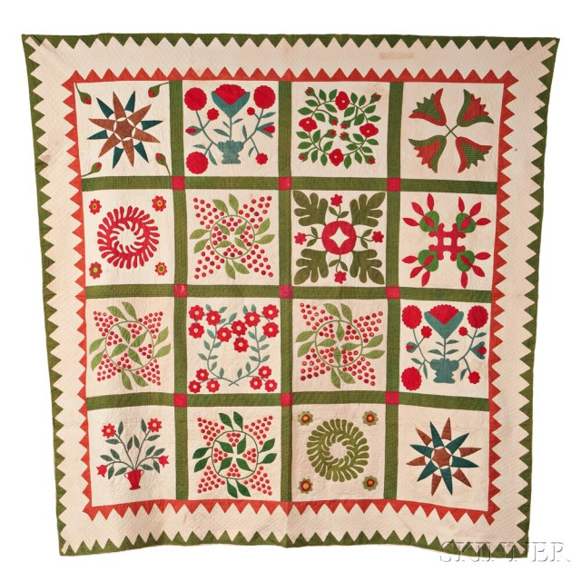 One of Two: Appliqued Cotton Album Quilt (Lot 25, Estimate: $800-1,200)