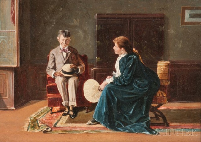 George Hand Wright (American, 1872-1951) The Bashful Suitor (Lot 1001, Estimate: $800-1,800)