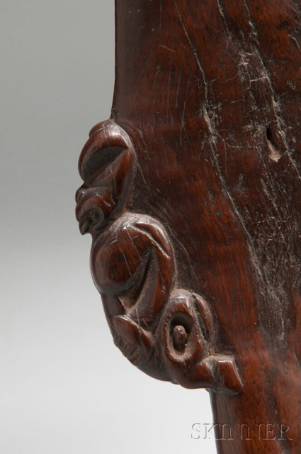 [Detail] Maori Figural Carved Wood Hand Club, 'Wahaika,' c. late 18th century (Lot 69, Estimate: $50,000-70,000)