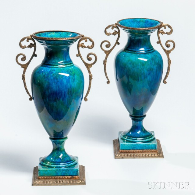 Pair of Sevres Oromlu-mounted Porcelain Vases, France, 20th century (Estimate:   $300-500)