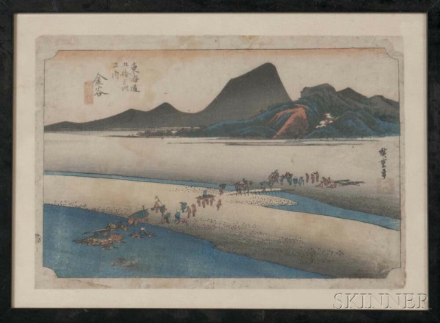 Utagawa Hiroshige (1797-1858), Kanaya, Distant Bank of Oi River, Japan, woodblock print, from the series Fifty-three Stations of the Tokaido (Lot 1016, Estimate: $1,000-1,500)