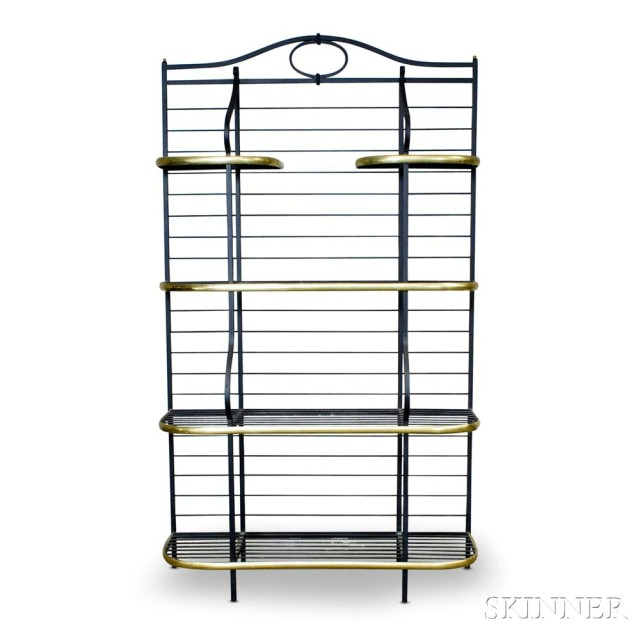 Wrought Iron and Brass Four-tier Baker's Rack (Lot 1021, Estimate: $300-500)