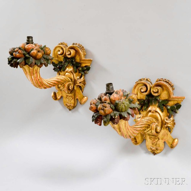 Pair of Carved, Gilt, and Painted Cornucopia Wall Sconces (Lot 1028, Estimate: $400-600)
