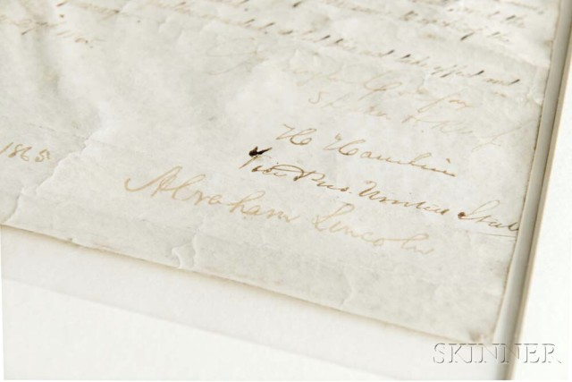Lincoln, Abraham (1809-1865) Mauscript Document Signed, 27 February 1865   (Lot 1058, Estimate: $60,000-80,000)