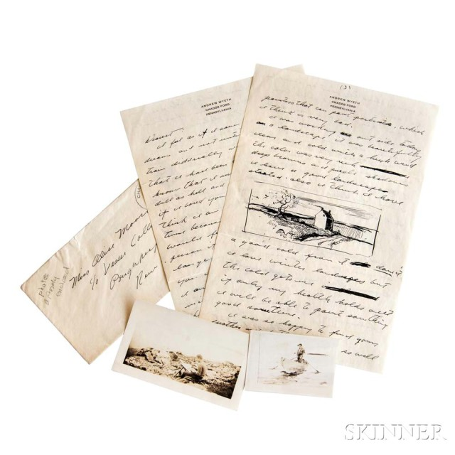 Wyeth, Andrew (1917-2009) Archive of Forty-three Signed Autograph Letters   and Notes, with Sketches (Lot 1106, Estimate: $80,000-120,000)
