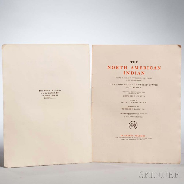 Curtis, Edward Sheriff (1868-1952) The North American Indian, Volume III,   The Teton Sioux. [Norwood, Massachusetts: Plimpton Press], 1908 (Lot 1201,   Estimate: $8,000-10,000)