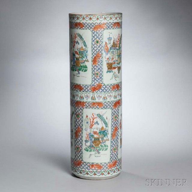 Fencai-enameled Umbrella Stand, China, 19th century (Estimate: $200-300)
