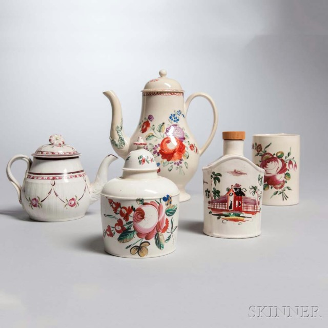 Four Creamware Paint-decorated Vessels, 18th/19th century (Lot 1031, Estimate: $300-500)