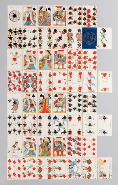 Harlequin Transformation Deck of Cards, designed by Charles E. Carryl for Tiffany & Co., 1879 (Lot   1144, Estimate: $400-600)