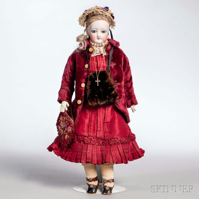 French Fasion Doll, Red Jacket and Dress, Hat and Purse (Estimate: $600-800)
