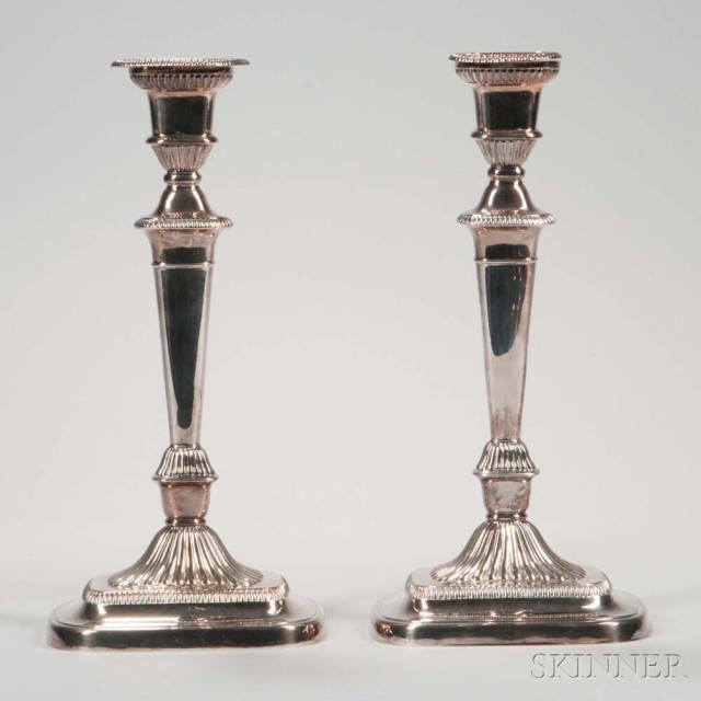 Pair of Silver-plated Candlesticks (Lot 1032, Estimate $$20-200)